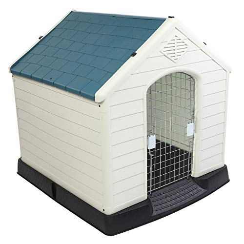 Bonnlo Plastic Dog House, Pet Dog Kennel Water Resistant for Small Medium Sized Dogs with Door, Indoor & Outdoor Use (28