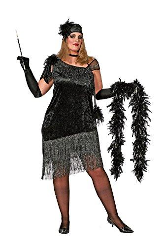 Charlston-Kostüm Damen Schwarz mit Fransen und Kopfschmuck, große Größen elegantes Damenkostüm Silvesterkleid Tänzerin Showtanz Karneval Fasching hochwertige Verkleidung Größe 52 Schwarz