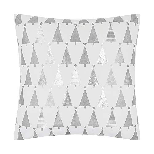 JWH Christmas Tree Star Silver Foil Printing Accent Pillow Case Decorative Cushion Cover Festival Decor Pillowcase Home Bed Living Room Chair Couch Decor Sham Gift Bleach White 18 x 18 Inch