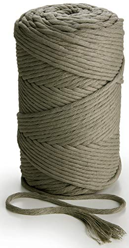 MB Cordas Macrame Cord 3mm Gray Single Strand 459 feet Twisted Soft String Cotton Rope for Handmade Plant Hangers Wall Hanging Craft Making and DIY Projects