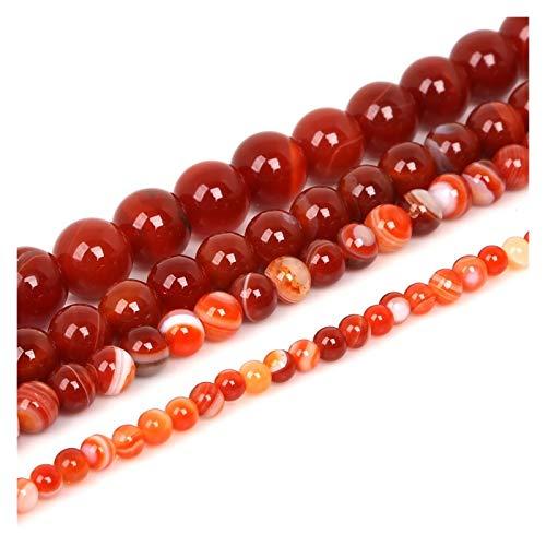 WEIYUE Cuentas rojas redondas de piedra natural de ágata natural, utilizadas para hacer pulseras de joyería collar 4 6 8 10 12 mm (tamaño: 8 mm x 48 piezas)