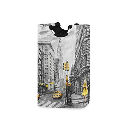DOSHINE Wäschekorb New York City Street Art Gemälde Große Wäschesammler Tasche faltbar Einkaufstasche Schmutzwäsche Tasche Aufbewahrungskorb