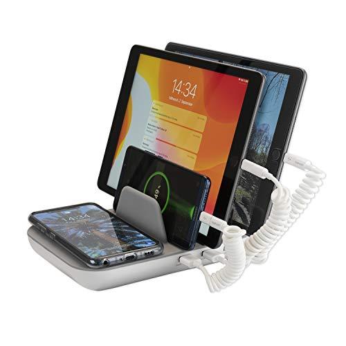 4smarts Ladestation Family Pro 50W mit Induktive Qi Wireless Charger, USB-C, Lightning und Micro-USB Kabel - Grau / Weiß