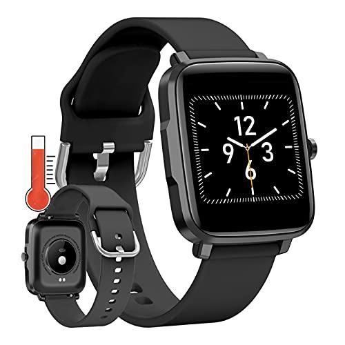 Smartwatch, Reloj Inteligente Pantalla HD De 1,54' Pulsera De Actividad Inteligente Con Monitoreo De Temperatura Monitor De Sue?O Contador De Caloría Pulsómetros Podómetro Para Android Ios,Negro