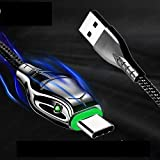 5A Type C Cable Fast Charging Snake Head Glows Fabric Braided Cable 6FT
