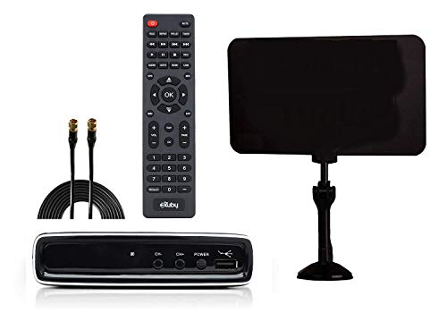 Exuby Digital Converter Box for TV, Flat Antenna and Coaxial Cable for Over The Air TV - No Subscriptions Needed - Instant & Scheduled Recording, 1080P HD 7 Day Guide & LCD Screen