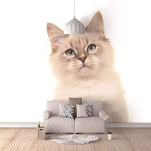 Papel Pintado 3D Lindo gato Fotomurales Decorativos Pared 3D ART Póster Sala de Estar Dormitorio TV Fondo 250cm(W) x175cm(H)-5 Stripes