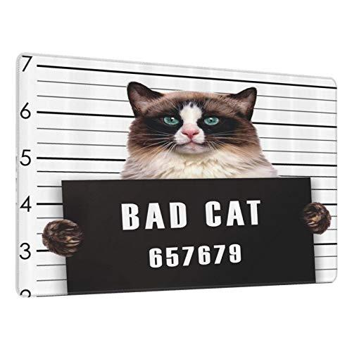 Alfombrilla Gaming Bad Gang Cat en la cárcel Kitty bajo arresto Prisionero Criminal Resaca Trabajo Base de Goma Antideslizante,Adecuada para Jugadores,PC y portátil-80x30cm