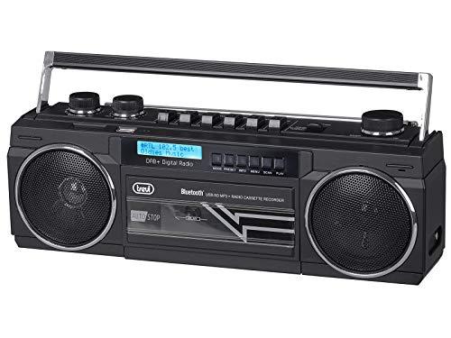 Trevi RR 511 DAB Radio Registratore con Ricevitore Digitale DAB, Mp3, UBS, Bluetooth, Funzione Full Recorder su Musicassette, Nero