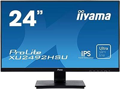 """iiyama XU2492HSU-B1 24"""" IPS LCD with Slim Bezel, 4ms, Full HD 1920x1080, 250 cd/m² Brightness, 1x HDMI,1 x DisplayPort,1 x VGA, 2 x USB, 2 x 2W Speakers"""