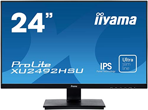 iiyama ProLite XU2492HSU-B1 60,5cm (24 Zoll) IPS LED-Monitor Full-HD (VGA, HDMI, DisplayPort, USB2.0, Ultra Slim Line) schwarz