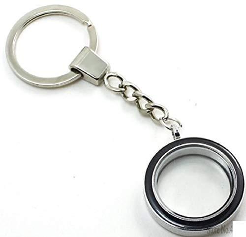 Leer Glas Schlüsselanhänger für Fotos aus Metall und Glas 3cm zum aufschrauben und individuell gestalten schwarz | Fotoschlüsselanhänger | Geschenk für Frauen | Männer | Foto Anhänger |