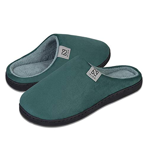 Men's and Women's Classic Memory Foam Slippers Comfort Plush Lining House Shoes for Indoor & Outdoor (Dark Green, 44/45)