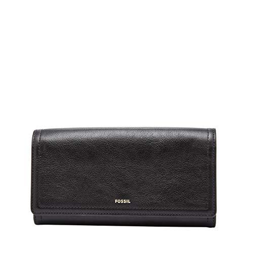 Fossil Women's Logan Faux Leather Flap Clutch Wallet, Black