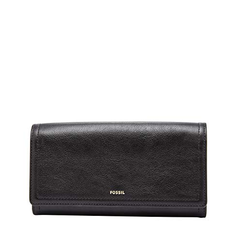 Fossil Women's Logan Faux Leather Flap Clutch Wallet, Black
