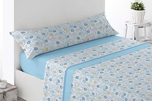 Regalitostv - DAKOTA - Juego Sábanas 3 Piezas Pirineo Otoño Invierno (grosor 120 g) (150_x_200_cm, Azul)