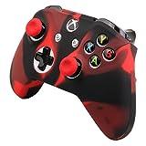 Pandaren cubierta de silicona Fundas protectores antideslizante Solamente para Xbox One S, Xbox One X Mando x 1 (negro rojo) + Thumb grips x 2