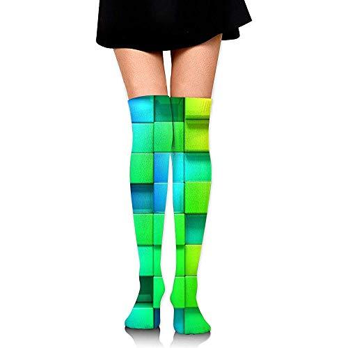 Web--ster-socks Calcetines hasta la rodilla para niñas, estampados de cuadros escoceses de color arcoiris para mujer sobre muslos Medias largas y largas