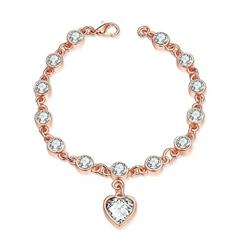 Aeici Oro Rosa Pulsera para Mujeres Color de Forma de Corazón Cen Cristal En La Boda Longitud: 19.7Cm