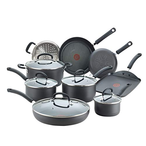 T-fal E765SEFA Ultimate Hard Anodized Nonstick 14 Piece Cookware Set, Dishwasher Safe Pots and Pans Set, Black
