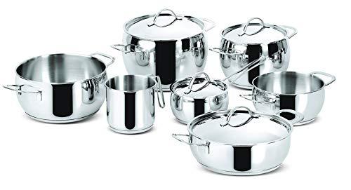 Lagostina Euforia Batterie Cuisine 11 Pièces Casserole Faitout Sauteuse Marmite Poêle Couvercle Inox 18/10 Induction Four Lave Vaisselle Garantie 10 ans 010704600011