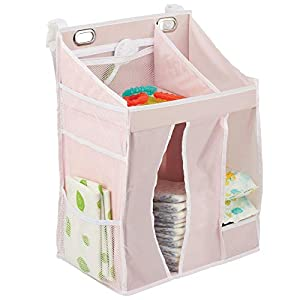 mDesign Baby Nursery Hanging Storage Organizer Caddy and Diaper Stacker for Baby Essentials, Hang on Crib, Changing Table or Wall – Multiple Pockets to Store Wipes, Creams, Lotions,Toys – Light Pink