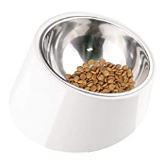 "Slanted dog bowl - ergonomic 15 degree tilted design makes the food concentrate on the bottom and makes your pet easy to empty the food, as well as reduces risk of ""bloat"" And indigestion Non spill dog bowl - Dogs tend to stack Food to the edge, high..."