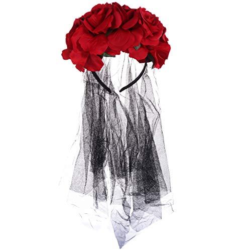 Minkissy floral día de los muertos corona de flores diadema de encaje mexicano velo rosa disfraz de halloween diadema mexicana (rojo)