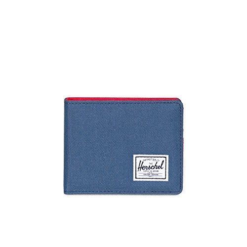 Herschel unisex adult Roy Rfid Bi Fold Wallet, Navy/Red, One Size US
