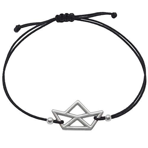Selfmade Jewelry - Braccialetto con barca – Misura regolabile / Braccialetto portafortuna, fatto a mano, con confezione regalo e base metal, colore: argento, cod. 0070