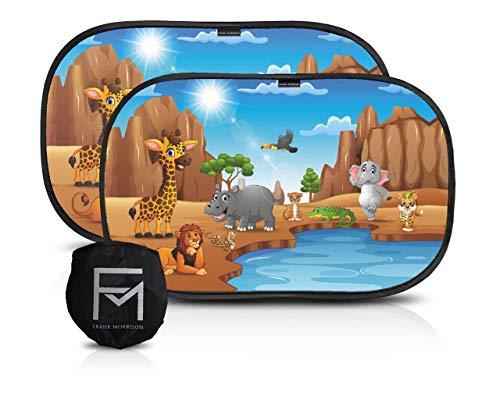 FRANK MORRISON SCF290/73 Tendine parasole auto bambini nere con animali - parasole auto bambini accessori auto - set di 2 tendine 51x31 cm - protezione UV 80g