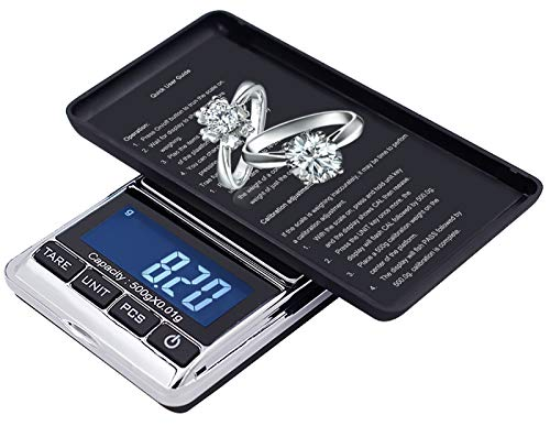 Ataller Digital Pocket Scale, 0.001oz/0.01g 500g Precision Portable Jewelry Scale, Mini Electronic Gram Weight Scales, Tare, Auto Off, Stainless Steel, White Backlit Display (Max:500g/d=0.01g)