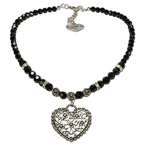 Alpenflüstern Perlen-Trachtenkette Blüten-Herz - Damen-Trachtenschmuck mit Strass-Trachtenherz, Dirndlkette schwarz DHK153