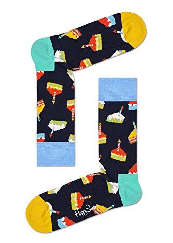 Happy Socks Unisex Birthday Cake Gift Box 2-pack Socks, Multi, 7 11 UK , 2 Pack