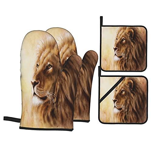 Juego de 4 Guantes de Horno y agarraderas,Hermosa Pintura con aerógrafo de una Cabeza de león con un Retrato de Perfil de expresión pacífica Majesticaly,Utilizado para cocinar,para cocinar y Asar
