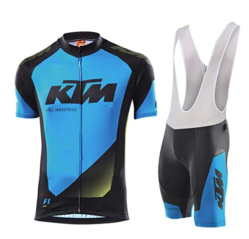 DAN Conjunto Ropa Equipacion Traje Ciclismo Hombre para Verano, Maillot Ciclismo Hombre+Culotte Ciclismo Culote Bicicleta (M,3)