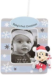 Hallmark Disney Mickey Mouse Baby's First-Christmas Photo Frame Ornament Boy Blue