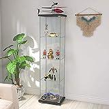 Contemporary 4-Shelf Glass Display Cabinet in Clear with Door, Floor Standing...