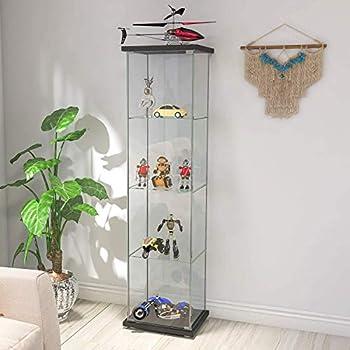 "Contemporary 4-Shelf Glass Display Cabinet in Clear with Door Floor Standing Curio Bookshelf for Living Room Bedroom Office 64"" x 17""x 14.5""  Black Wood"