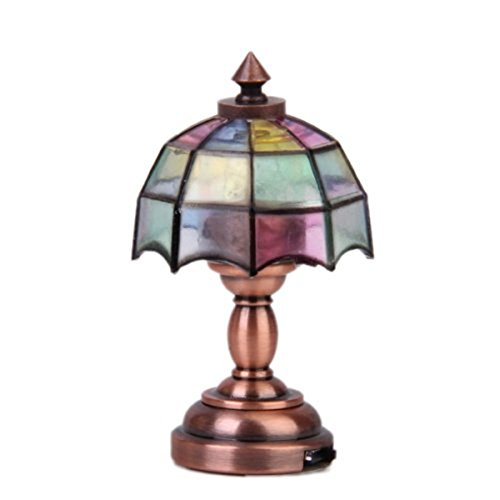 Tinksky 112 Dollhouse Miniature Umbrella Shape Lampshade LED Desk Lamp Light