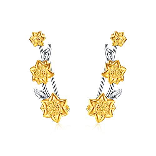 YFN Sonnenblume Wrap Ohrringe Sterling Silber Ohr Manschette Climber Crawler Ohrringe für Frauen Mädchen