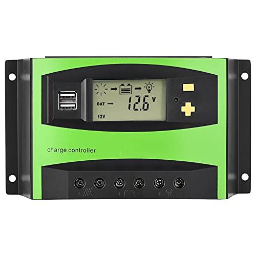 CUTULAMO Controlador Solar, Controlador De Carga Solar Reconocimiento Inteligente Impermeable para Barcos Sistemas De Energía Solar para Vallas Publicitarias De Luz Solar De Luz Verde Solar(40A)