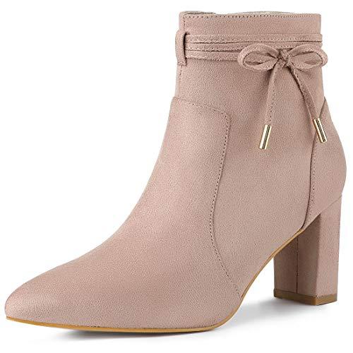 Allegra K Damen Pointed Toe Blockabsatz Schleife Ankle Boots Stiefel Altrosa 41
