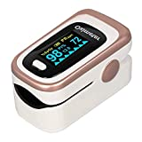 Oxygen Saturation Monitor, WRINERY Premium Pulse Oximeter Fingertip, Oxygen Monitor, O2 Saturation Monitor, OLED Portable Oximetry with Batteries, Lanyard (Rose Gold-White)