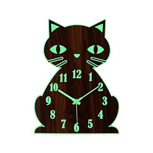 Topkey Leuchtende nicht tickende leise Wanduhr Tier-Design Uhr für Kinder, batteriebetrieben (nicht im Lieferumfang enthalten) - niedliche Katze