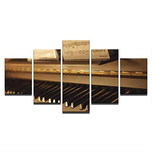 Leinwand Gemälde Wandkunst Wohnkultur Hd Drucke 5 Stücke Vintage Klavier Bilder Musikinstrumente Poster Wohnzimmer Größe 2 Kein Rahmen