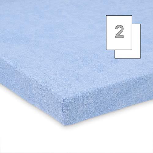 Doppelpack FabiMax 3542 Frottee Spannbettlaken für Beistellbett und Wiege, 90 x 40 cm, blau