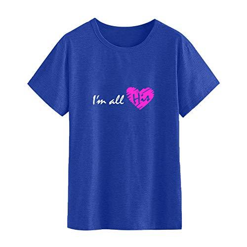 YANFANG Camiseta Holgada Mujer Manga Corta, Amantes Moda Casual Día de San Valentín O-Cuello Manga Corta Impreso Casual Top, XXL,Blue