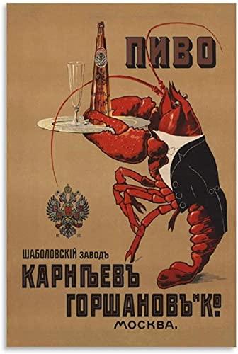 JSYEOP Bier Sovjet Vintage Poster Canvas Art Poster en Wall Art Picture Print Moderne Familie Slaapkamer Decor Posters…