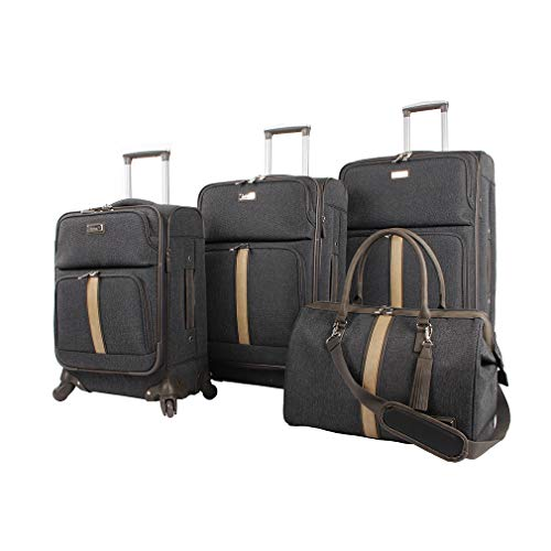 Nicole Miller Designer Luggage Collection - 4 Piece Softside Lightweight Expandable Spinner Suitcases- Travel Set includes 17 Inch Tote Bag, 20 Inch Carry On, 24 & 28 Inch Suitcases (Gray Plaid)